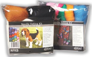 Needle Felting Kits - Beagle Dog & Butterfly Brooches