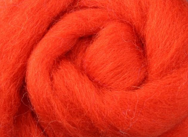 Corriedale Wool Sliver/Roving/Top - Pumpkin Pie - 100g