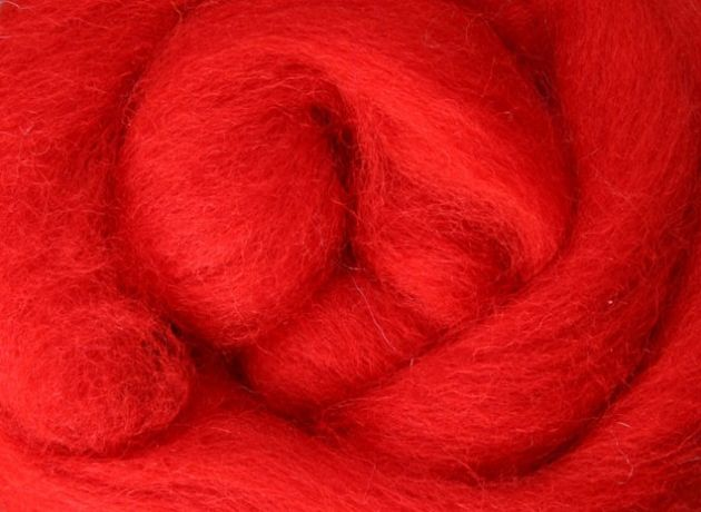 Corriedale Wool Sliver/Roving/Top - Chilli Pepper - 100g