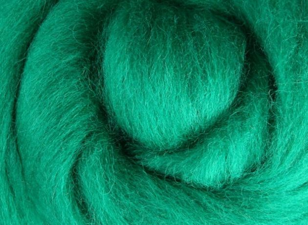 Corriedale Wool Sliver/Roving/Top - Green - 100g