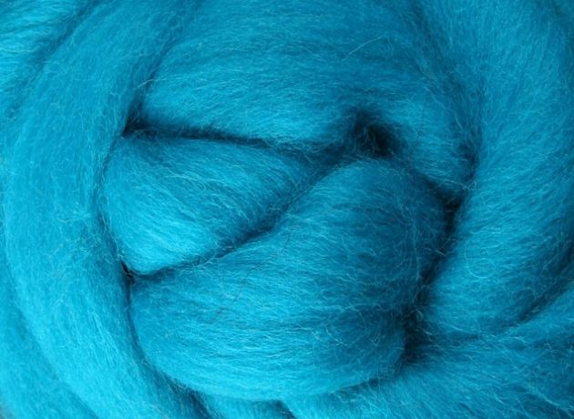 Corriedale Wool Sliver/Roving/Top - Turquoise - 100g