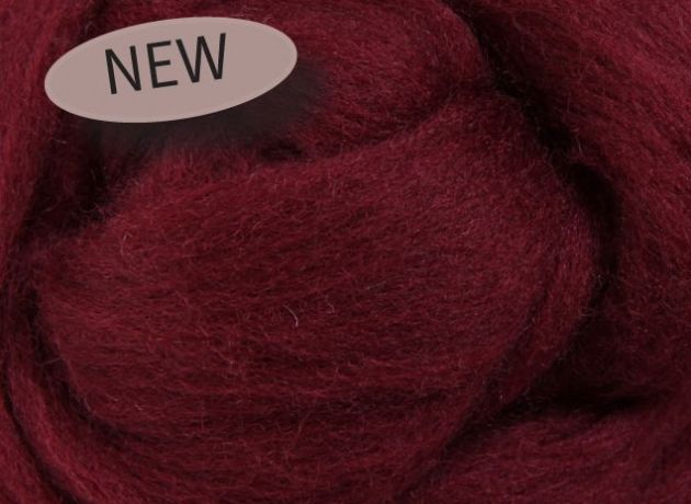 Corriedale Wool Sliver/Roving/Top - Aubergine - 100g