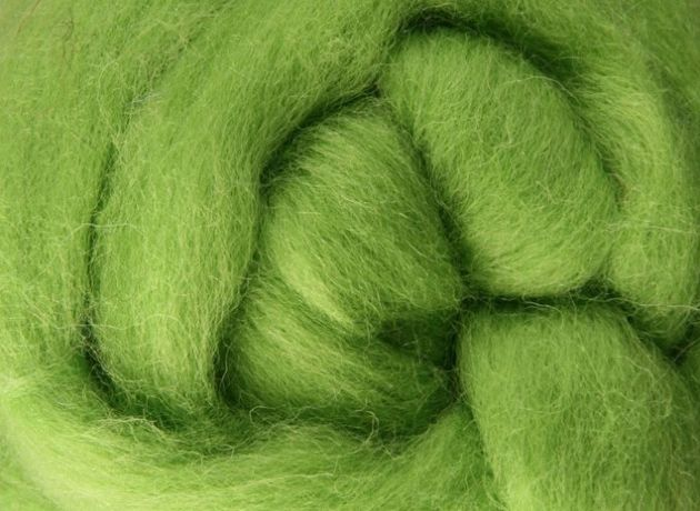 Corriedale Wool Sliver/Roving/Top - Lime - 100g