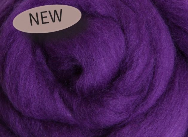 Corriedale Wool Sliver/Roving/Top - Amethyst - 100g