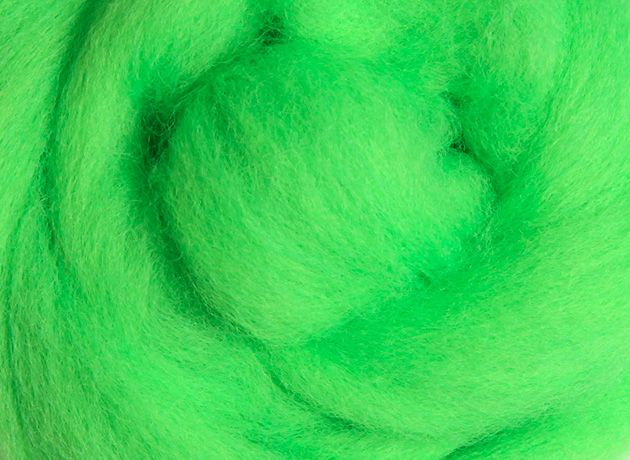 Merino Wool Sliver/Roving/Top - Fluro Lime - 500g