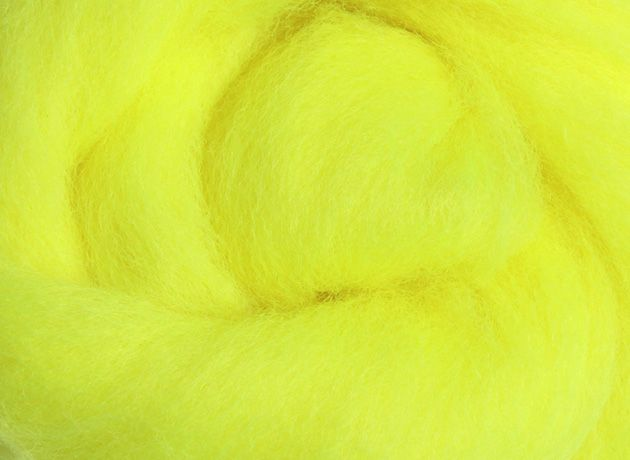 Corriedale Wool Sliver/Roving/Top - Fluro Yellow - 100g