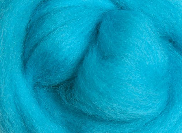 Merino Wool Sliver/Roving/Top - Fluro Blue - 100g