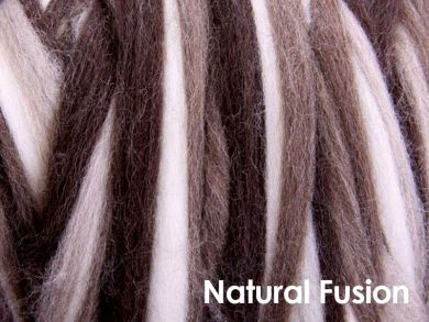 Stripy Blend Corriedale Sliver/Roving/Top - Natural Fusion - 100g