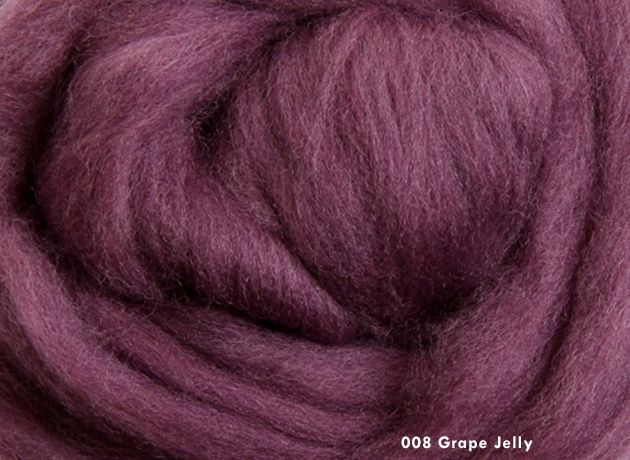 Merino Wool Sliver/Roving/Top - Grape Jelly - 100g
