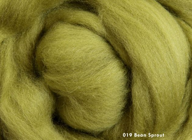 Merino Wool Sliver/Roving/Top - Bean Sprout - 500g