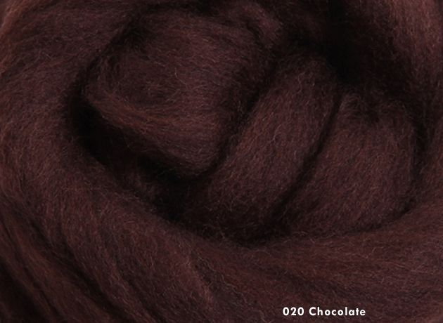 Merino Wool Sliver/Roving/Top - Chocolate - 500g