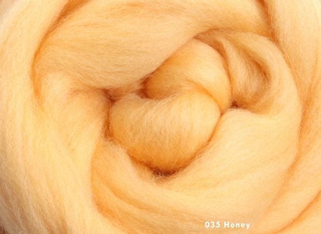 Merino Wool Sliver/Roving/Top - Honey - 100g
