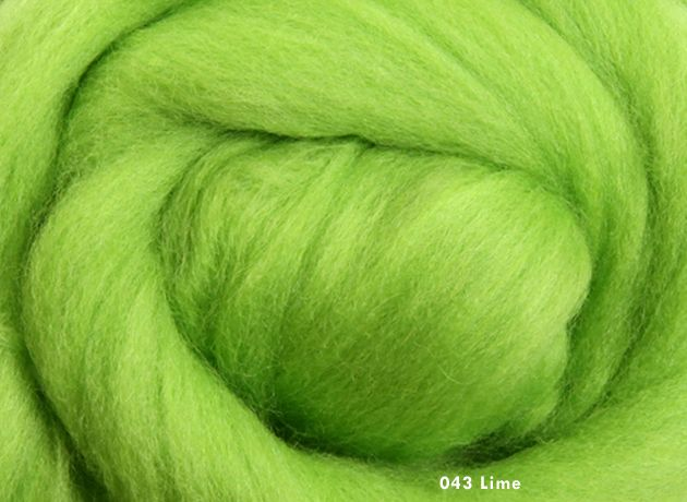 Merino Wool Sliver/Roving/Top - Lime - 500g