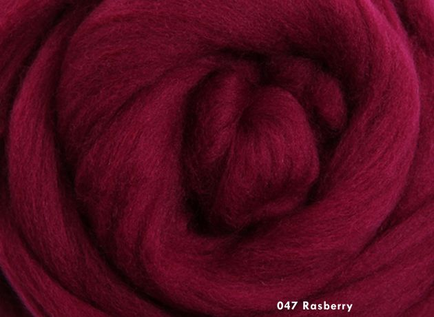 Merino Wool Sliver/Roving/Top - Raspberry - 500g