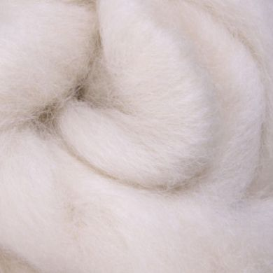 30-32 Micron Carded Perendale Wool Sliver/Roving/Top - Natural White - 100g